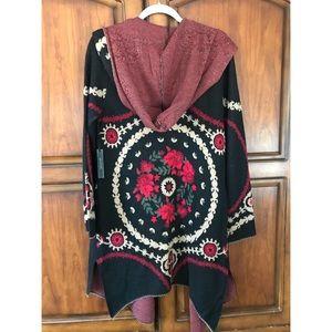 BCBG MAXSPORT Hooded Floral Cardigan